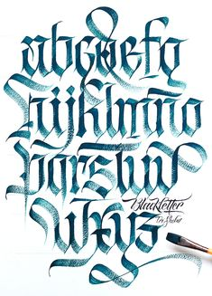 My Calligraphy & Lettering works in the end of 2017 and beginning of hope that you will enjoy it Graffiti Lettering Alphabet, Calligraphy Letters Alphabet, Tattoo Fonts Alphabet, Gothic Lettering, Chicano Lettering, Typography Letters, Letter Fonts, Graffiti Font, Script Lettering