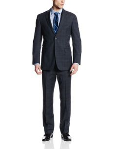 Tommy Hilfiger Men's Tucker Blue Plaid Two-Button Side-Vent Suit