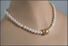 I Do Necklace in 23-Karat Gold Leaf on Lava, Freshwater Pearls, and 14-Karat Toggle Clasp    This freshwater white pearl necklace has my