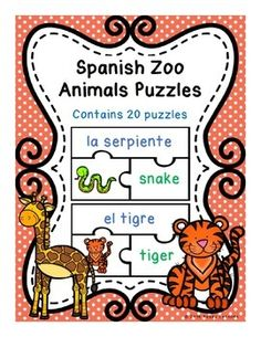 Spanish Zoo Animals Puzzles. Match the picture of the animal with the correct Spanish and English word.