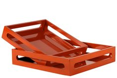 2 Piece Wood Tray with Hole Handles Set