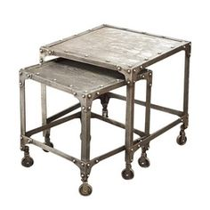 Lend a touch of industrial-chic flair to your living room or den with this stylish metal nesting table set, showcasing castered designs and nailhead trim. Industrial Chic, Industrial Furniture, Modern Furniture, Home Furniture, Industrial Shelves, Furniture Design, Industrial Bedroom, Dining Room Inspiration, Home Decor Inspiration