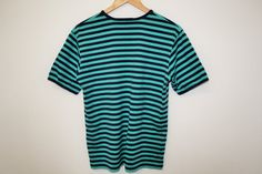 MARIMEKKO Top Nautical Blue turquoise Striped Sailor Marine Short Sleeve Green Top Small Size Made in Finland Measurements (laying flat): Marimekko, Green Tops, Good Old, Finland, Sailor, Nautical, Turquoise, Flat, Sleeves