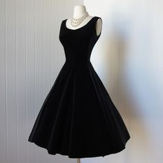 vintage 1950s dress  ...black satin and velvet full skirt cocktail party dress with bows  -featured item-