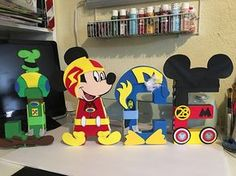 Mickey and the roadsters racers letters custom 8 latters Mickey Mouse Pinata, Mickey Mouse Y Amigos, Mickey Mouse 1st Birthday, Mickey Mouse Clubhouse Party, Mickey Mouse Parties, Mickey Party, Mickey Mouse And Friends, 3rd Birthday, Craft Foam