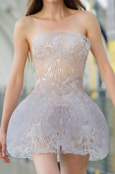 This one-of-a-kind 3D-printed dress will be translated for mainstream fans. Photo: Imaxtree