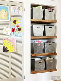 Organize your home in less than a weekend's time with these easy DIY storage ideas. Many of these projects use items you already have around the house. Try a few of these DIY storage projects this weekend for a quick organization boost. Weekend Projects, Home Projects, Rustic Wood Shelving, Diy Storage Projects, Metal Bins, Diy Rangement, Childrens Artwork, Built In Bookcase, Bookshelves
