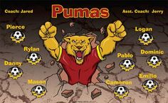 Pumas B53602  digitally printed vinyl soccer sports team banner. Made in the USA and shipped fast by BannersUSA.  You can easily create a similar banner using our Live Designer where you can manipulate ALL of the elements of ANY template.  You can change colors, add/change/remove text and graphics and resize the elements of your design, making it completely your own creation.