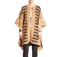 Escada Graphic Bar-Print Poncho ($2,495) ❤ liked on Polyvore