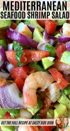 Mediterranean Shrimp Salad a light fresh cold salad side dish that combines avocado, tomatoes, bits of purple onions, and cooked shrimp with a light lemon dressing. Perfect Seafood Salad salads Mediterranean Shrimp Salad with Avocado {Video} Sea Food Salad Recipes, Avocado Recipes, Fish Recipes, Seafood Recipes, Cooking Recipes, Cold Shrimp Salad Recipes, Seafood Appetizers, Salade Healthy, Summer Salads