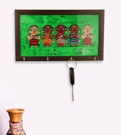 Canvas Handpainted Tribal Ladies Key Holder In Multicolour