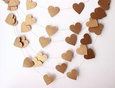 Kraft Valentine : Guirlande mariage, guirlande de coeur or, Garland de la Saint-Valentin, mariage rustique, or décor Valentine, Valentine or Bunting, or Photo...