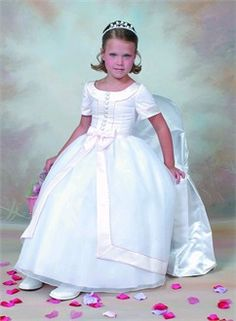 Elegant A-Line Satin Communion Dress