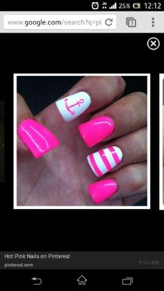 Hot pink nautical nails