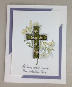 Easter Card with Crosses of Hope and He is Risen Stamp Set. more details at www.wearethestampions.com
