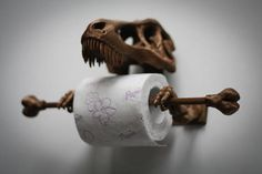 T-Rex Toilet Paper Holder 3D Printed - Bathroom accessories. T-Rex Toilet Paper Holder is printed on my 3D printer out of high-quality PLA plastic. Children and adults will be glad to have a T-Rex in their bathroom! SIZING: 4.5 inches tall, 5 inches long and 7 inches wide. The