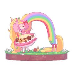 Gif princesse chewing-gum et Miss Rainicorn