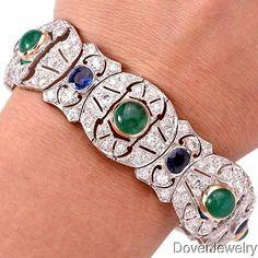 Antique-Deco-Diamond-27-46ct-Sapphire-Emerald-Platinum-Bracelet-58-6-Grams-NR