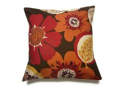Decorative Pillow Cover Red Brown Yellow by LynnesThisandThat, $17.50. living room