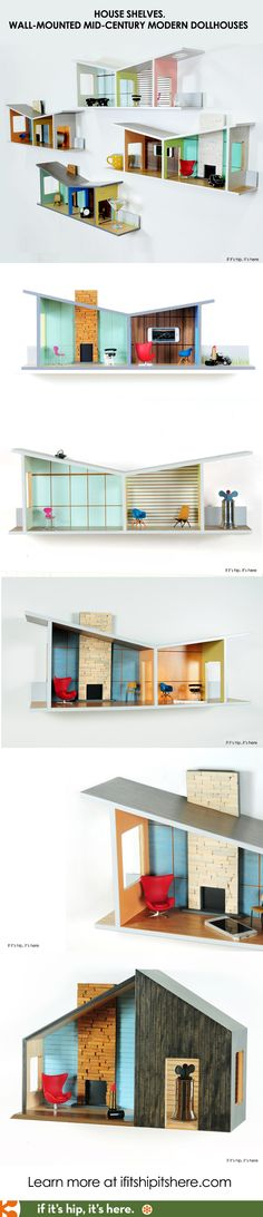 """These are so cool! """"House Shelves"""" are functional wall mounted shelves inspired by Mid-Century Modern Architecture. - if it's hip, it's here"""
