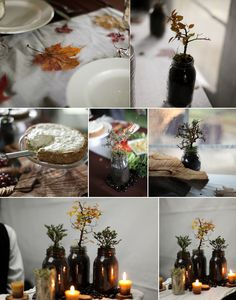 love these potted plant centerpieces!