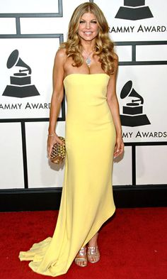Best Strapless Dress   Fergie wowed in a surprisingly minimalist lemon yellow Calvin Klein Collection column and dazzling jewels on the 2008 red carpet.