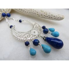 Lapis Lazuli Necklace, Sleeping Beauty Turquoise Necklace, Cresent... (€105) via Polyvore featuring jewelry, necklaces, statement necklaces, long necklaces, turquoise teardrop necklace, sterling silver star necklace and long beaded necklace