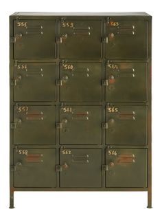 This Khaki Green Metal Industrial 12 Compartment Cabinet from Maisons du Monde is the perfect piece for a warehouse home or industrial loft. The raw and urban aesthetic with a slightly distressed aesthetic makes it the perfect storage solution. Converted Warehouse, Warehouse Home, Vintage Lockers, Metal Lockers, Interior Design Inspiration, Home Decor Inspiration, Steel Locker, Wooden Crates, Industrial Style