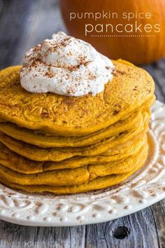 These pumpkin pancakes so light and fluffy, with the perfect pumpkin spice flavor. A delicious fall breakfast everyone will love! Pumpkin Spice Pancakes, Cinnamon Roll Pancakes, Pumpkin Puree, Pumpkin Pumpkin, Pumpkin Recipes, Fall Recipes, Holiday Recipes, Pumpkin Foods, Think Food