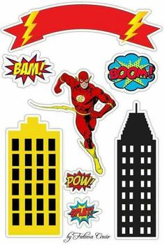 for Geeks Flash Party: Free Printable Cake Toppers. for Geeks Bolo Flash, Flash Cake, Superhero Cake, Superhero Birthday Party, Flash Birthday Cake, Party Printables, Free Printables, Oh My Fiesta, The Flash