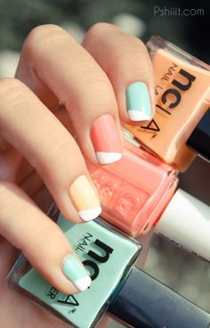 Diagonal French manicure with pastels: mint green, soft peach, light pink coral, yellow, light blue, light purple or lilac #spring #summer