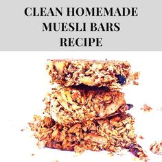 Clean and healthy homemade muesli bars - no nasties and refined sugar free Quick Healthy Breakfast, Breakfast Recipes, Homemade Muesli Bars, Quick Easy Meals, Sugar Free, Meal Prep, Healthy Recipes, Food, Essen