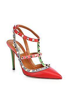 Valentino - Italian Pop Sling Leather Pumps #Valentino