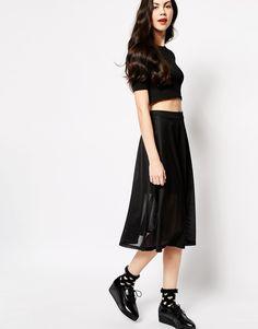 Monki+A-Line+Mesh+Skirt