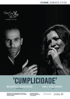 """""""Duetos da Sé"""", #restaurante #café #bar, #Alfama, #Lisboa, #Lisbon #Portugal - SÁBADO 10 DE MARÇO 2018 – 21H30 - #CONCERTO - """"CUMPLICIDADE"""" - Rogério Godinho (voz e piano) & Mili Vizcaíno (voz)   Finalmente Rogério Godinho (piano e voz) e Mili Vizcaíno (voz e guitarra) irão realizar um concerto juntos! Será já no dia 10 Março, numa noite fantástica, plena de sensibilidade e cumplicidade, na qual irão partilhar com o público músicas que de alguma forma os marcam..."""