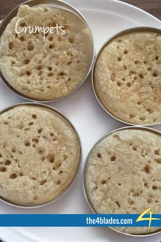 Thermomix Gluten Free Crumpets. Light, fluffy and fantastic. Ingredients: sugar, dried yeast, water, gf flour, salt, rice milk, water, bicarb soda.