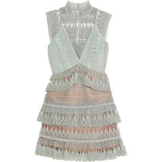 self-portrait Mint Green Tiered Guipure Lace Mini Dress (29.910 RUB) ❤ liked on Polyvore featuring dresses, mint dresses, tiered dresses, mint short dress, short dresses and scalloped dress