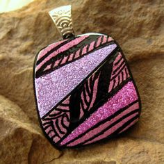 Dichroic Fused Glass Zentangle Pendant Fused Glass  by GlassCat, $24.00