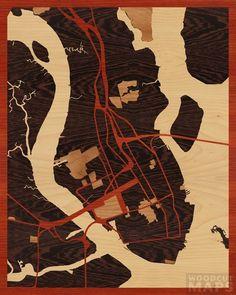 16x20 Woodcut Map of Charleston, South Carolina