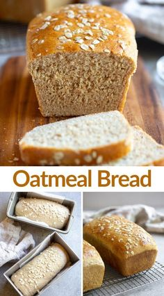 Easy Homemade Oatmeal Bread made with rolled oats, whole wheat flour and sweetened with honey. We love this delicious healthy bread recipe. via # Food and Drink homemade Oatmeal Bread Healthy Bread Recipes, Banana Bread Recipes, Baking Recipes, Healthy Breads, Healthy Eating, The Oatmeal, Oatmeal Bread Recipe, Homemade Oatmeal, Homemade Breads