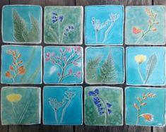 Botanical ceramic tile, Spring flowers, hand cut tile, bluebell, cherry blossom, crocosmia, fern, cow parsley, dandelion, forsythia