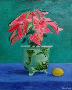 Hockney, David (88) - pointsetta plant painting