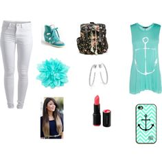 """""""Turquoise Day at School"""" by san-san-441996 on Polyvore"""