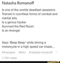 Not too happy about her portrayal in AoU though.<< I loved the movie just not a fan of Banner/Natasha together. <<< same, I don't ship her with banner but I definitely don't ship clintasha Marvel Comics, Marvel Jokes, Marvel Funny, Marvel Heroes, Marvel Avengers, I Understood That Reference, Clintasha, Natasha Romanoff, The Avengers