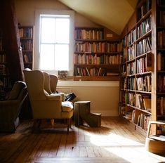 Reading nook with wooden floor (attic room)
