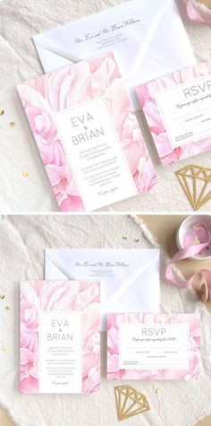 Peony Petals in Pink - Personalised wedding invitation suite with modern botanical watercolor illustration in pastel blush color. Unique wedding designs from wilove.boutique #weddinginvitations