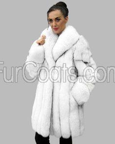 Blue Fox Fur Coat - 3/4 Length @ FurCoats.com