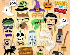 Halloween party Photo booth Props: HALLOWEEN by stickericashop