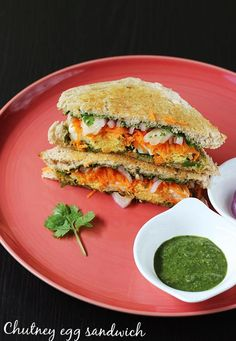 Chutney egg sandwich - a quick breakfast or snack can be made in just minutes if boiled eggs are ready. They are protein packed & healthy too