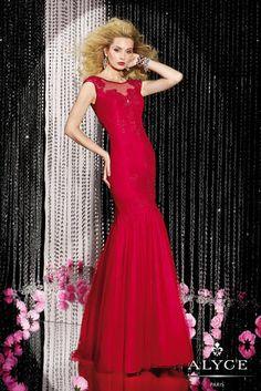 Special Occasion Dresses - Alyce Black Label 5583 Alyce Paris Red Mermaid Sheer Neckline